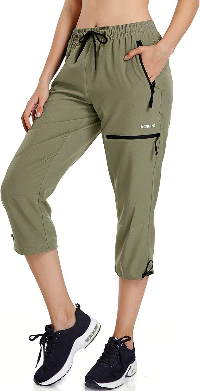 Ksmien Women's Lightweight Hiking Capri Pants Quick Dry Workout