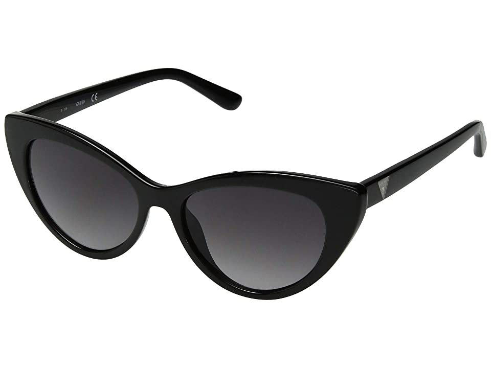 GUESS GU7565 (Shiny Black/Gradient Smoke) Fashion Sunglasses, Gray