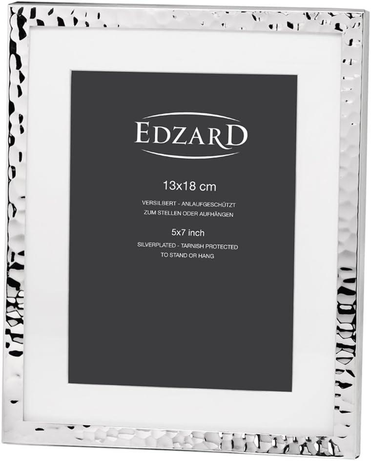 Edzard Portaretratos/Marco de Fotos Fano para Fotos 13 x 18 cm, con paspartú, Chapado en Plata, Resistente al deslustre