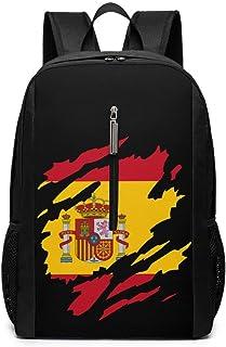 Mochila de Negocios de 17 Pulgadas con Bandera de España para Hombres y Mujeres (Negro)