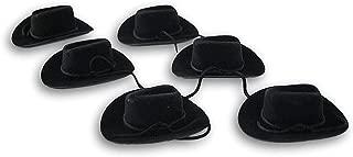 Craft Decor Set of Six (6) Miniature Black Felt Cowboy Hats for Crafts, Decorating & More