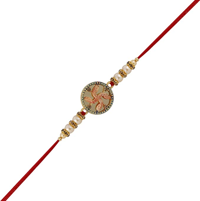Design 8 Raksha Bhandan Handmade Rakhi Bracelet With Stone Work Kundan Design For Brother Bhaiya Celebration