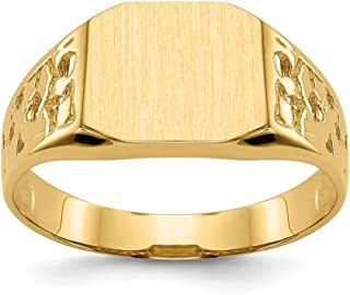 14k Yellow Gold 9.0x10.5mm Mens Signet Band Ring Size 9.00 Man Fine Jewelry Gift For Dad Mens For Him