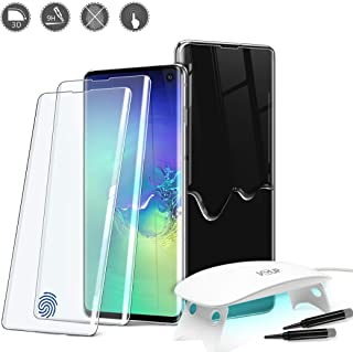 [2PACK] Samsung Galaxy S10 Plus Glass Screen Protector [VVUP] Curved Tempered Glass Full Adhesive Liquid Glue Stick [Included UV Lamp] CASE Friendly - Support with ULTRASONIC Fingerprint Sensor -