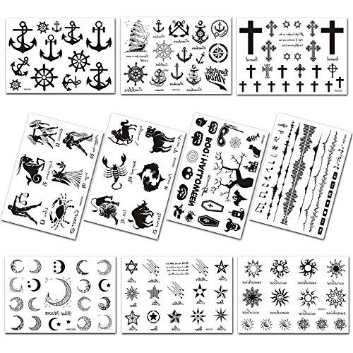 (10 Bögen)Temporäre Tattoos Tattoos Schmuck Aufkleber Kinder Tattoo Klebetattoos für Körper, Schwarz