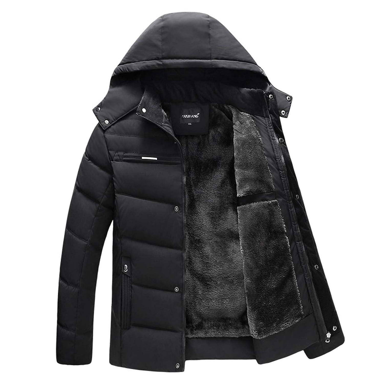 Chbavo メンズ 中綿 ジャケット 修身 綿服 保温 防寒着 防風 フード付き 裏ボア アウター あったか 厚手 冬服 裏起毛