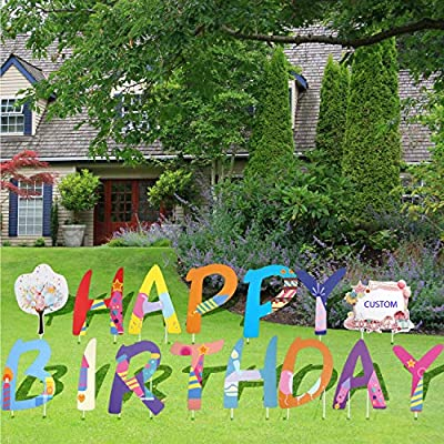 """JILLSKY Card My Yard Happy Birthday Yard Sign with Stakes – 15pcs 16.7""""H Letters and Put Your Photo or Write Your Birthday Age/Name"""