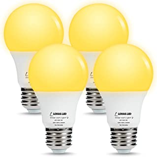 LOHAS Yellow Bug Light Bulbs, A19 LED Bulb Amber Night Lights 2000K, 60W Light Bulb Equivalent(9W), E26 Medium Base Porch Light 120V, Not Dimmable Lighting for Hallway Holiday Party(4 Pack)