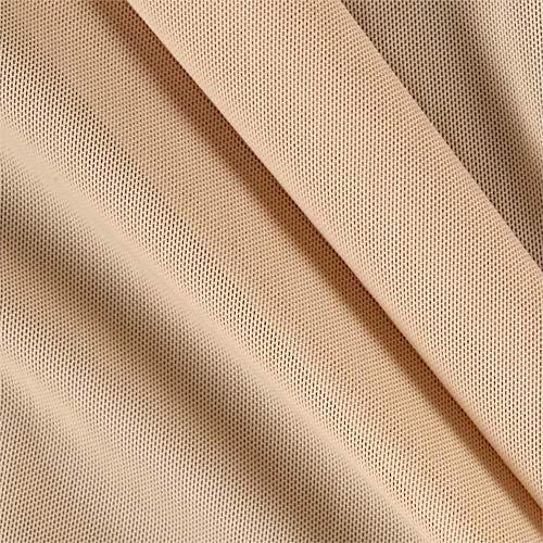 Power Mesh Fabric | 5 Yards Continuous | 60' Wide | 4-Way Stretch, 10% Spandex | Lightweight, Sheer (Nude)