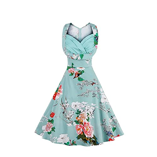 34a81eb938 ORICSSON Womens Deep V-Neck Elegant Floral Printed Cocktail Easter Party  Sleeveless Dress