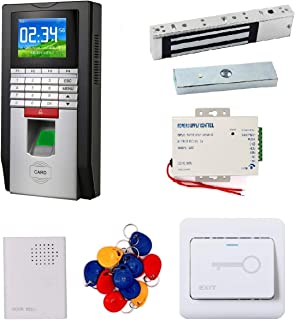 Network Color Screen 125khz RFID Fingerprint Time Attendance Access Control 600Lbs Magnetic Lock Door Lock Entry Kit (Silver)