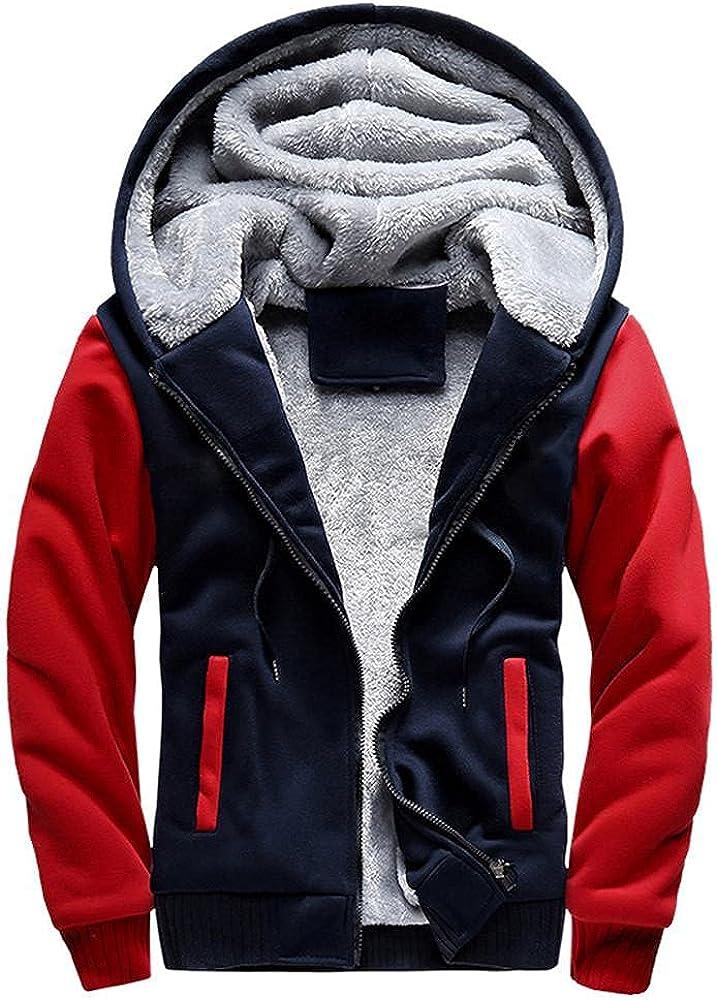 Huangse Men's Fleece Hoodie Sweatshirt Thick Jacket Full Zip Up Winter Sherpa Fleece Lined Bomber Jacket Coat