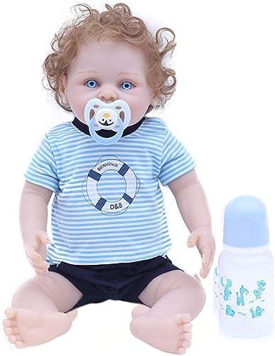 Miss-an Lebensechte Reborn Puppe Schlafen Weiße Silikon Ganz  Realistische Rosa mädchen Puppe Vinyl Reallike Neugeborenes Baby Puppe mit Kleidung 45cm, Kinder Geschenk für Alter 3+