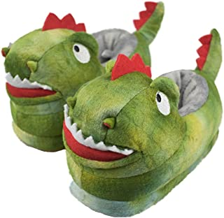 Tirzrro Boy's/Girl's Dinosaur Slippers with Anti-Skid Rubber Sole House Shoes