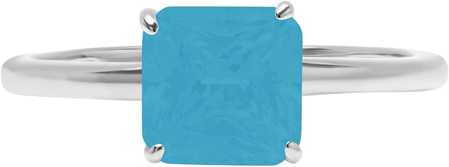 2.4ct Brilliant Asscher Cut Solitaire Flawless Simulated Cubic Zirconia Blue Turquoise Ideal 4-Prong Engagement Wedding Bridal Promise Anniversary Designer Ring Solid 14k White Gold for Women