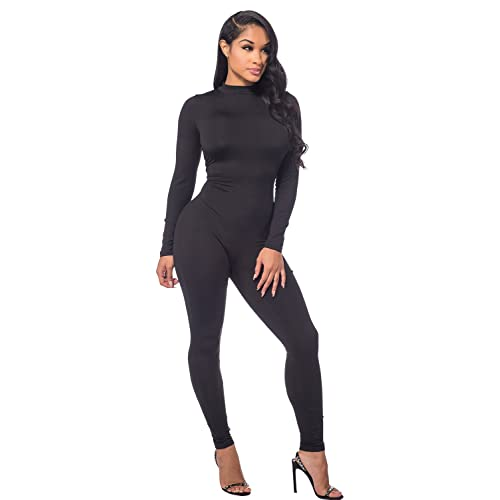 9012c4c346b Sedrinuo Women Autumn Long Sleeve High Neck Bodycon Tight Full Length  Jumpsuits Rompers