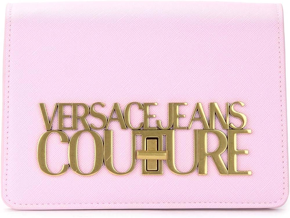 Versace jeans couture,borsa per donna,in pelle saffiano rosa,e logo in metallo color oro E1.VWABL3.71879-426