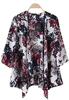 Capas Sueltas Estilo Kimono Cardigan para Mujer, Tops de Abrigo de Manga Larga Cubre Outwear Estampado Floral Sheer (S-como Muestra la Imagen)