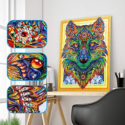 Iusun Wolf Pattern Special Shaped DIY 5D Diamond Painting Crystal Embroidery Rhinestone Pasted Resin Cross Stitch Art Craft 15.7x19.7'' - Ship from USA