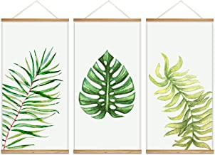 wall26 - 3 Panel Hanging Poster with Wood Frames - Watercolor Style Tropical Leaves - Ready to Hang Decorative Wall Art - 18