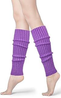 Womens 80s Neon Ribbed Knit Crochet Dance Yoga Leg Warmers Long Socks