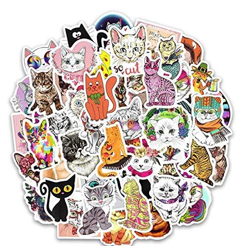 Luggage Trolley Sticker Cat Cartoon Graffiti Sticker Car Computer Laptop Guitar Skateboard Sticker 50 Sheets