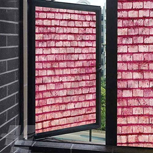 ScottDecor Glass Film Coral Old Brick Wall Facade Window Sticker Self Static Cling Vinly 35.4 x 78.7 inches
