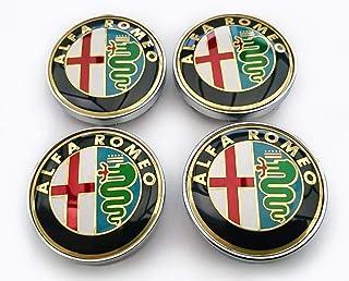 4 Nabenkappen für Alfa Romeo Giulietta 159 146 156 Brera Emblem Fresi Felgen 60 mm (Gold Gold)