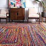 nuLOOM Tammara Handgeflochten Teppich, Baumwolle, Bunt, 90 cm x 150 cm oval - 2