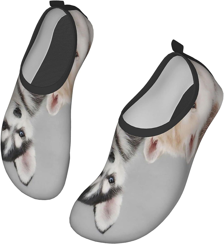 NAHOMER Mens Water Shoes Cute Husky Dog Womens Wading Shoes Slip-On Aqua Socks Pool Travel Kayaking River