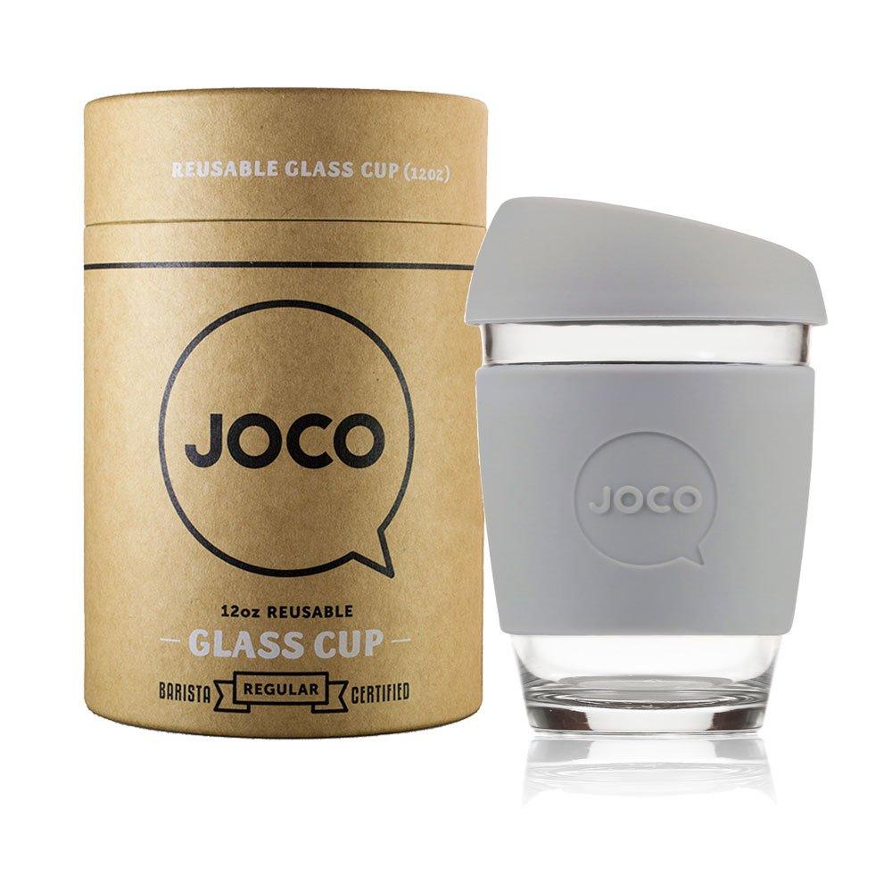 JOCO Reusable Glass Coffee Cup 12oz Cool Grey