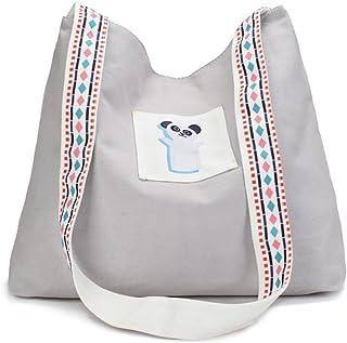 COAFIT Shoulder Bag Lovely Cartoon Canvas Shoulder Purse Cross Body Bag (Light Grey)