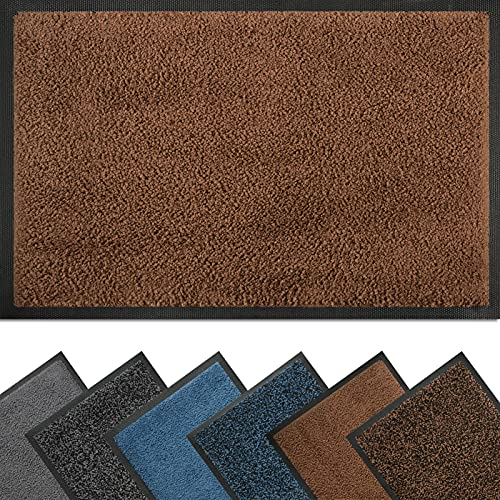 Zerbino antisporco, 40 x 60 cm, resistente, antiscivolo e basso profilo per interni ed esterni, tappetino antisporco, assorbente per porta anteriore, lavabile in lavatrice, colore: marrone