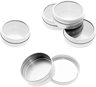 Mimi Pack 1 oz Tins 24 Pack of Shallow Window Top Round Tin Containers with Lids For Cosmetics, Party Favors and Gifts (Silver)