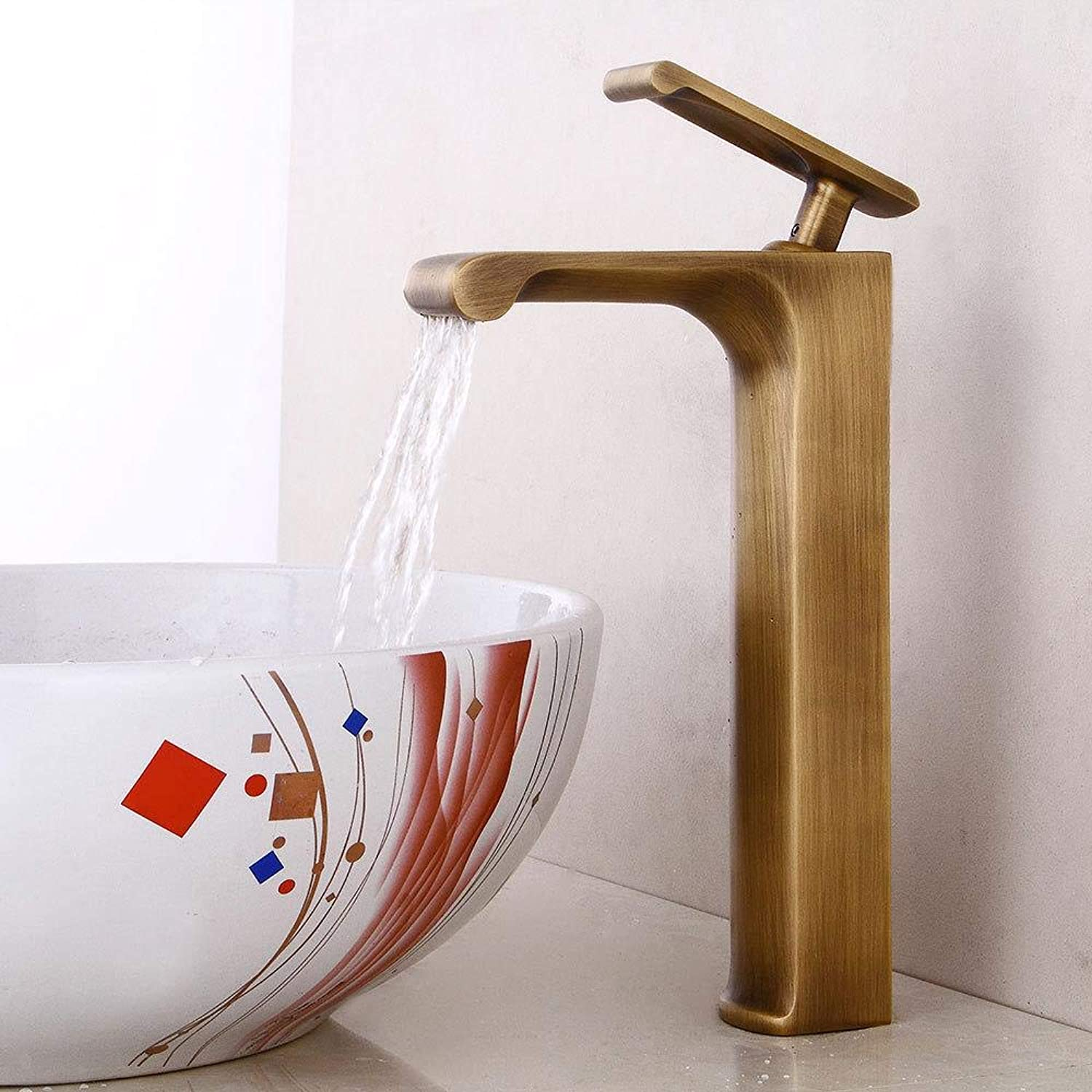 Tap Retro Basin Faucet Antique Bathroom Faucet Waterfall Above Counter Basin Faucet Hot and Cold Basin Faucet