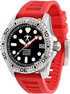 Men's Official Association Dive Watch Stainless Steel Japanese Quartz Rubber Strap, Red, 22 (Model: HLA, 5410, hla5410)