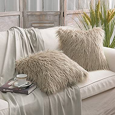 PHANTOSCOPE Set of 2 Beige Decorative New Luxury Series Merino Style Fur Throw Pillow Case Cushion Cover 18  x 18  45cm x 45cm