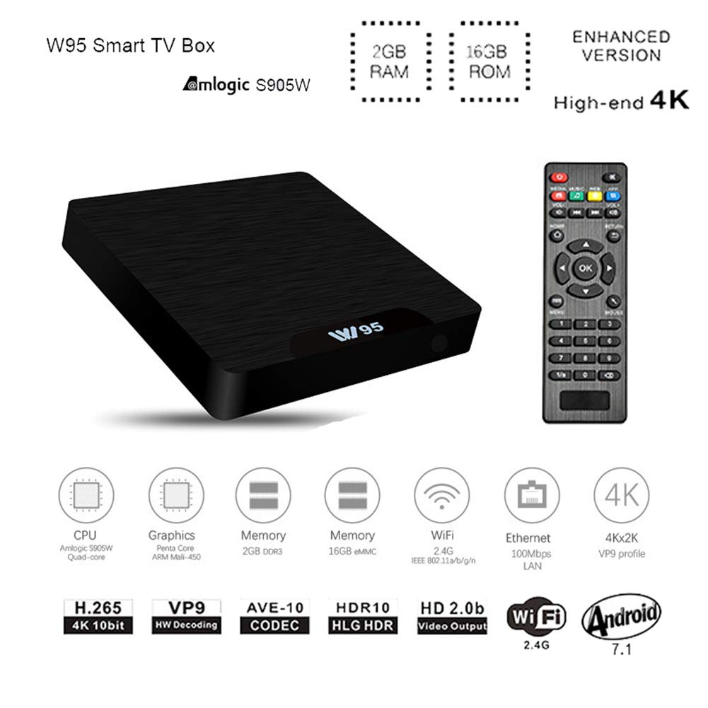 7,1 Android TV Box, androide 7,1 Smart TV Box Sets, 2GB RAM 16GB ROM, Amlogic S905W Quad-Core, 4K HD, 2.4 GHz WiFi, Web TV Box + Control Remoto: Amazon.es: Hogar