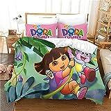 ZHYINA Dora The Explorer - Juego de cama 100% microfibra Anime Chica Joven Dora Ropa de cama 135 x 200 cm Funda de almohada 80 x 80 cm (A7,135 x 200 cm + 75 x 50 cm x1)