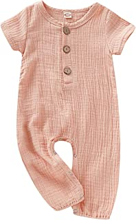 ZOELNIC Baby Girl Boy Romper, Infant Short Sleeve Jumpsuit Kids Linen Cotton Solid Color Playsuit with Button Onesie