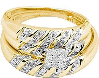 مجموعة دازلنج روك 0.09 قيراط (قيراط) 14K جولة قص الماس الأبيض للرجال والنساء ، مجموعة الثلاثي خواتم الخطوبة العنقودية ، ال...