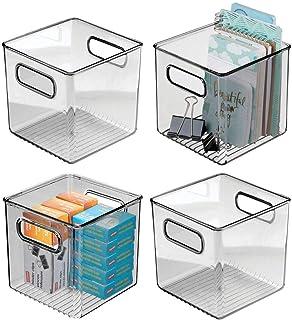 mDesign boite stockage pour la cuisine, salle de bain, bureau (lot de 4) – boite rangement en plastique avec poignées inté...
