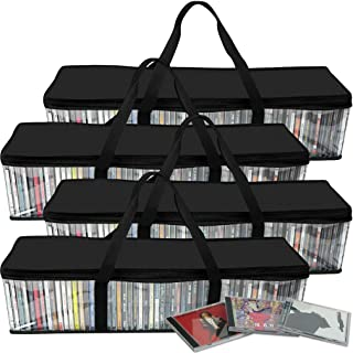 Evelots CD Storage Bag-Zip Clear-Handles-Hold 200 CD's Total-Black Top-Set/4
