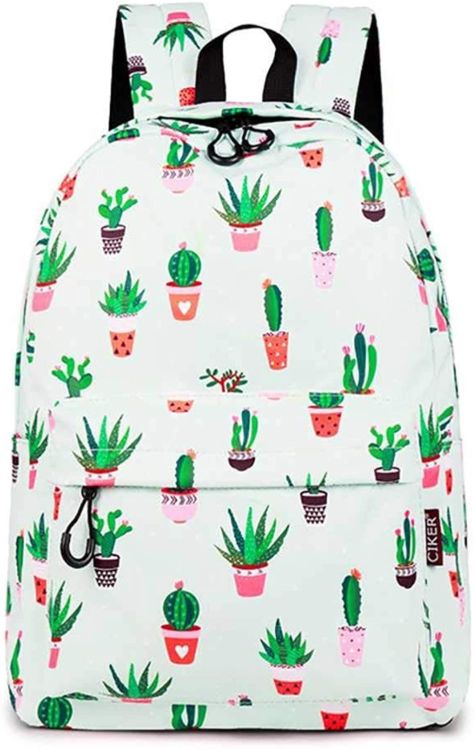 goldt1 Student Backpack Cactus Pattern 16.8L Print Zipper Casual Waterproof Notebook Youth Travel Large Capacity Female Student Schoolbag (color   1)