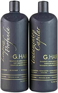 G.Hair Moroccan Smoothing Treatment Kit (Step 1+2) - 1 Liter / 33.8oz each - Ghair