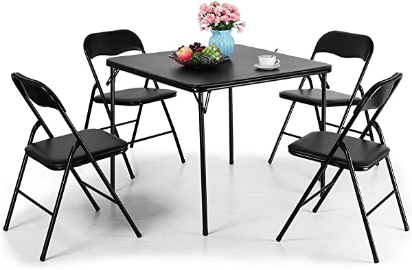 Tobbi 5 Piece Folding Table And Chairs Set Multipurpose Kitchen Dining Games Table Set