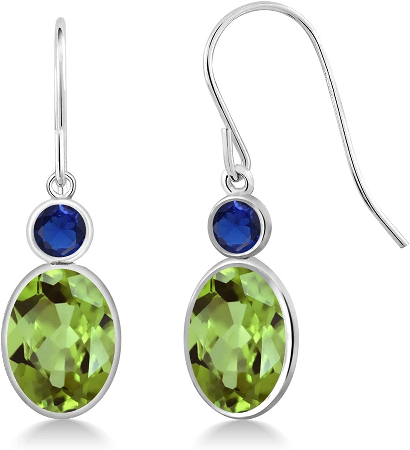 2.92 Ct Oval Green Peridot bluee Simulated Sapphire 14K White gold Earrings