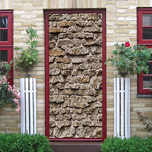 Imitación de piedra 3D etiqueta de la puerta, calcomanías murales de PVC para la decoración del hogar del arte 30.3x78.7 (77x200cm)