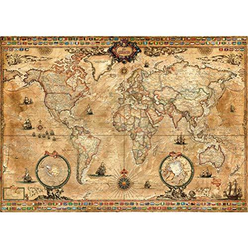 CSYY-YJ Rompecabezas de Madera 500/1000/1500/2000/3000/4000/5000/6000 PC Antigua del Mapa del Mundo del Arte Puzzles, Juguetes educativos Juegos para Adultos y niños,1000PCS