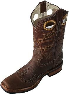 Men's Work Rodeo Leather Cowboy Western Biker Boots Light Brown